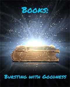 A book emitting blue light with the caption Books - Bursting with Goodness