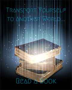 A book with blue glowing vertical lines in front of it and the caption Transport yourself to another world - read a book
